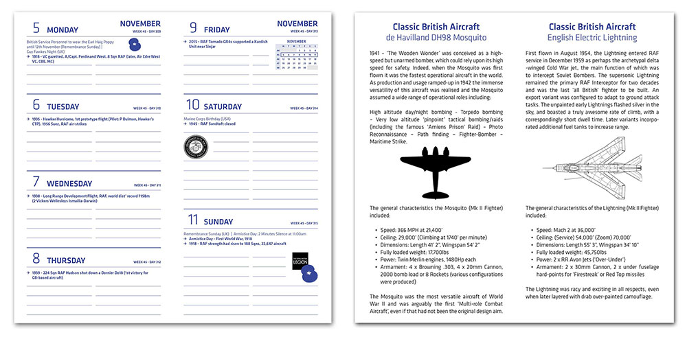 RAF Diary 2018 Sample Pages